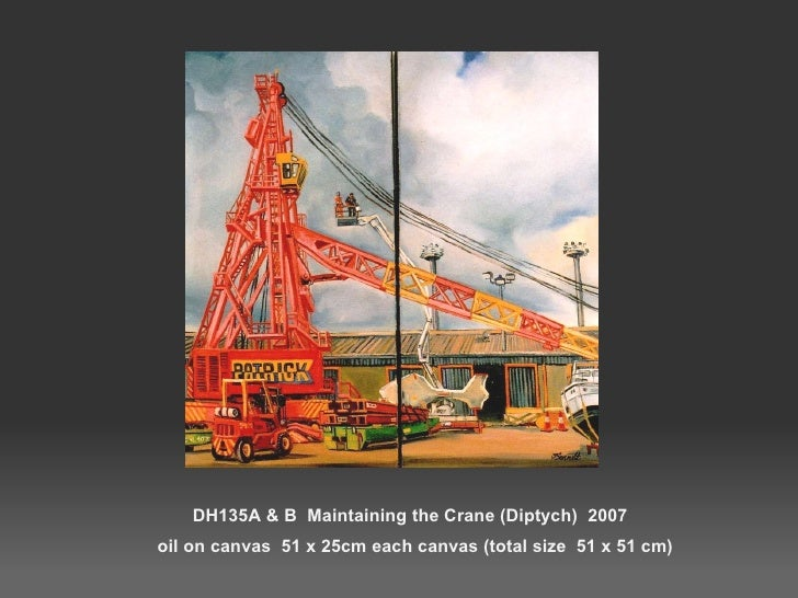 DH135A & B  Maintaining the Crane (Diptych)  2007   oil on canvas  51 x 25cm each canvas (total size  51 x 51 cm)