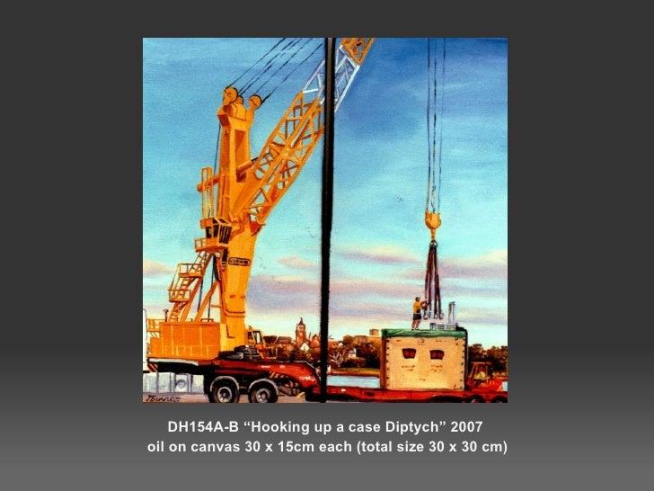 """<ul><li>DH154A-B """"Hooking up a case Diptych"""" 2007 </li></ul><ul><li>oil on canvas 30 x 15cm each (total size 30 x 30 cm) <..."""
