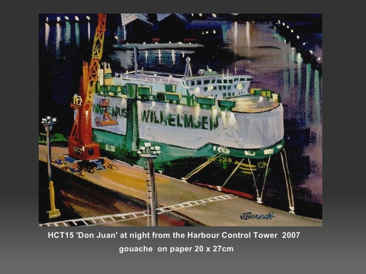 HCT15 'Don Juan' at night from the Harbour Control Tower  2007  gouache  on paper 20 x 27cm