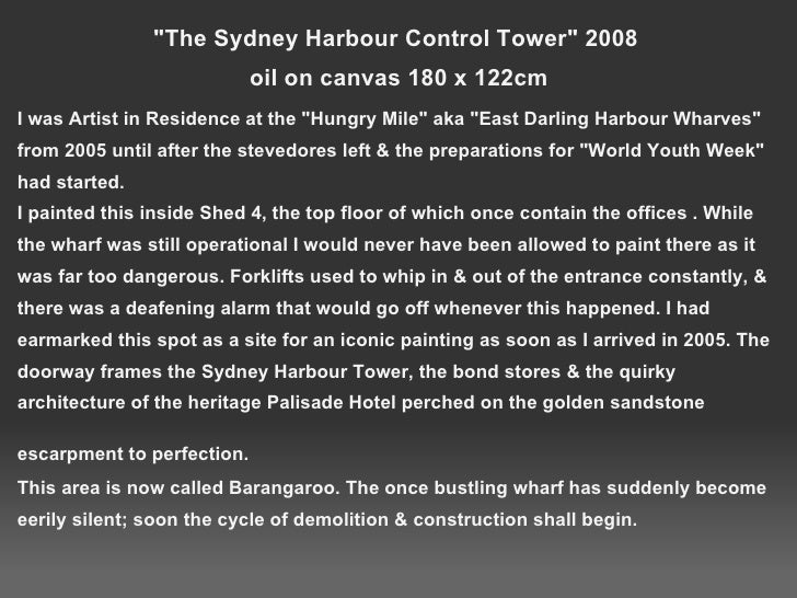 &quot;The Sydney Harbour Control Tower&quot; 2008 oil on canvas 180 x 122cm <ul><li>I was Artist in Residence at the &quo...