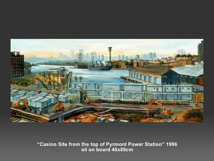 """"""" Casino Site from the top of Pyrmont Power Station"""" 1996 oil on board 40x89cm"""