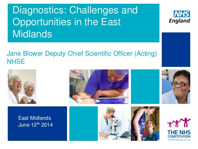1 Diagnostics: Challenges and Opportunities in the East Midlands Jane Blower Deputy Chief Scientific Officer (Acting) NHSE...