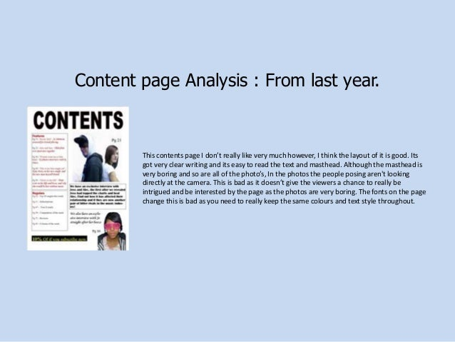 Content page Analysis : From last year.  This contents page I don't really like very much however, I think the layout of i...