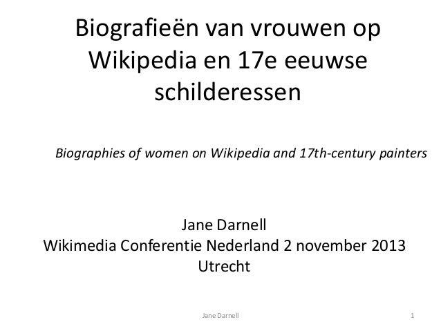 Biografieën van vrouwen op Wikipedia en 17e eeuwse schilderessen Biographies of women on Wikipedia and 17th-century painte...