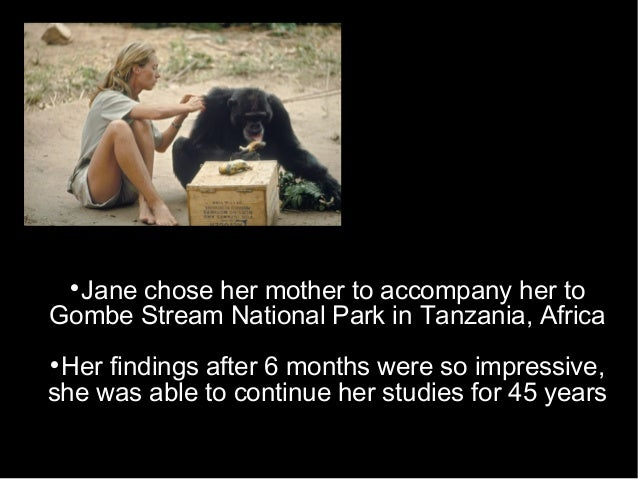  Jane chose her mother to accompany her to Gombe Stream National Park in Tanzania, Africa  Her findings after 6 months w...