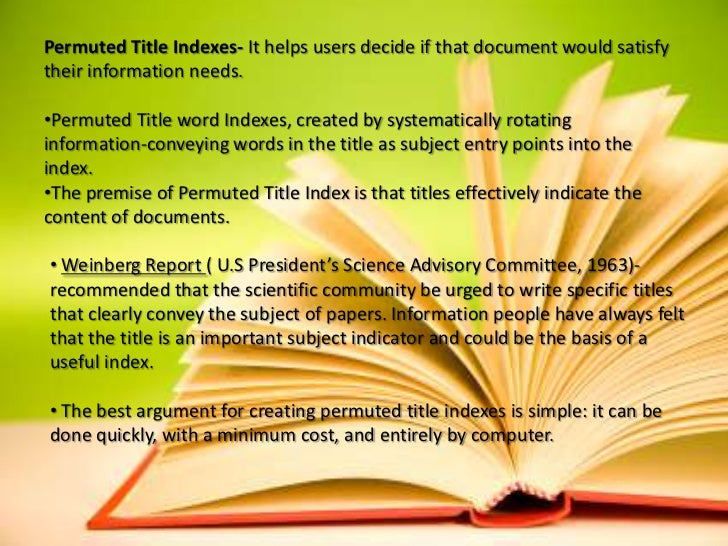 Premise Indicator Words: Permuted Title Index