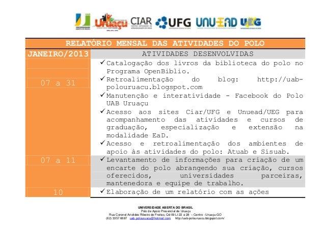 RELATÓRIO MENSAL DAS ATIVIDADES DO POLOJANEIRO/2013           ATIVIDADES DESENVOLVIDAS               Catalogação dos livr...