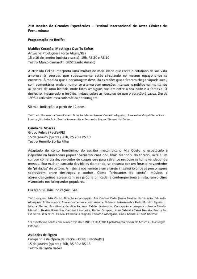 21º Janeiro de Grandes Espetáculos – Festival Internacional de Artes Cênicas de Pernambuco Programação no Recife: Maldito ...