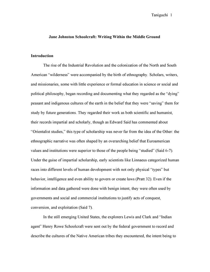 Taniguchi 1                Jane Johnston Schoolcraft: Writing Within the Middle Ground    Introduction         The rise of...