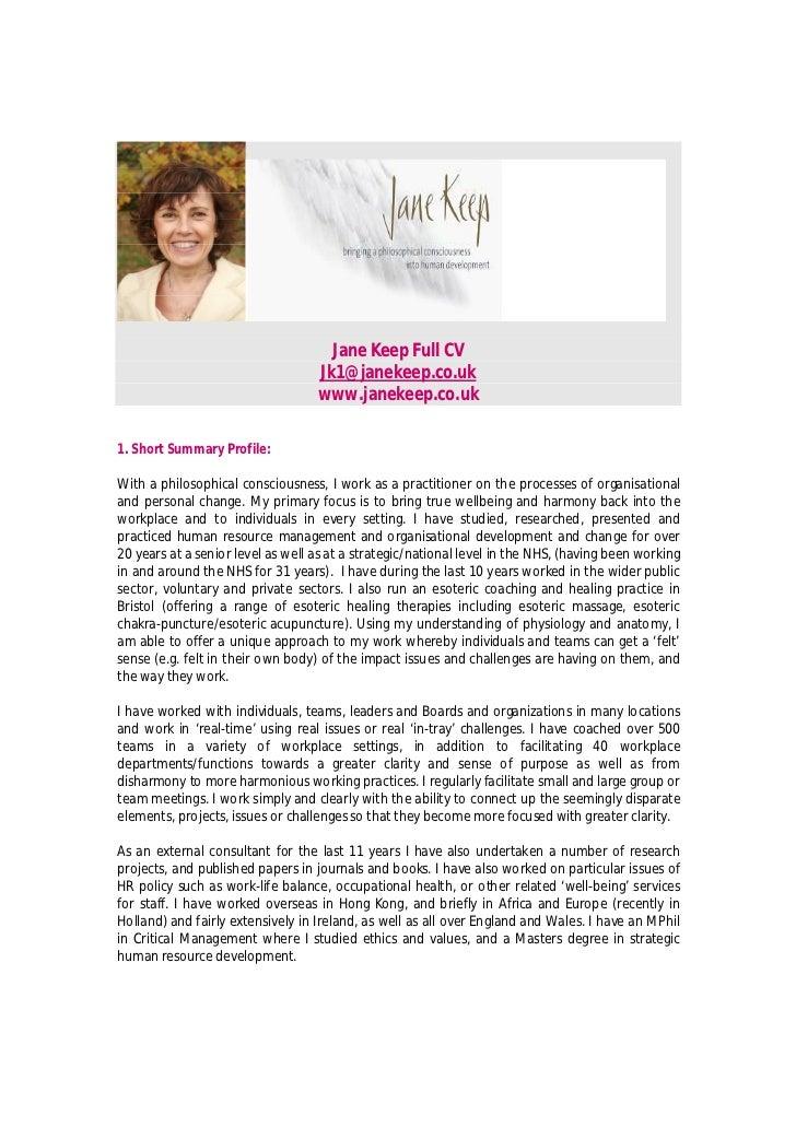 Jane Keep Full CV                                   Jk1@janekeep.co.uk                                   www.janekeep.co.u...
