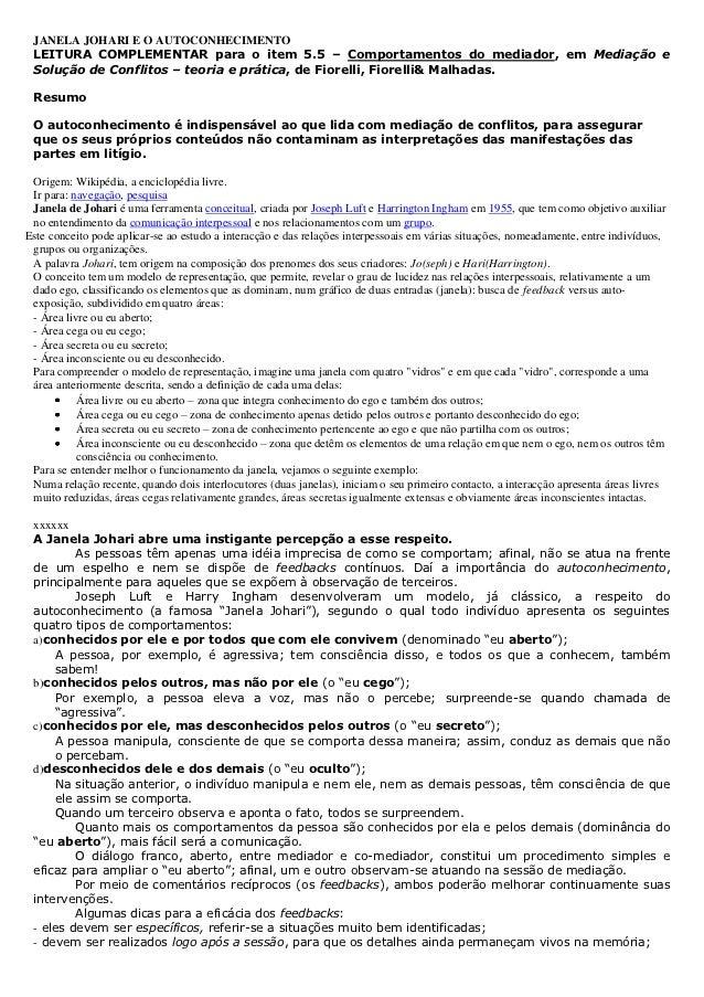 JANELA JOHARI E O AUTOCONHECIMENTO LEITURA COMPLEMENTAR para o item 5.5 – Comportamentos do mediador, em Mediação e Soluçã...