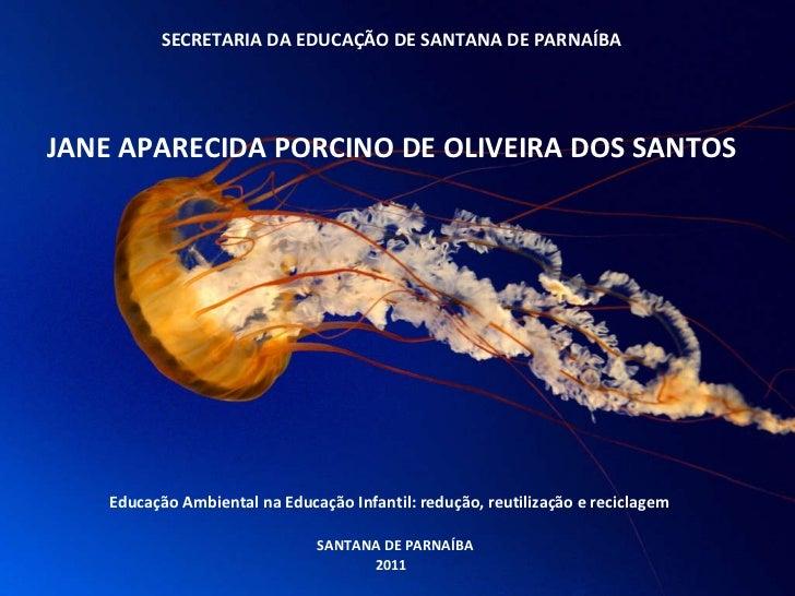 SECRETARIA DA EDUCAÇÃO DE SANTANA DE PARNAÍBA   JANE APARECIDA PORCINO DE OLIVEIRA DOS SANTOS      Educação Ambien...