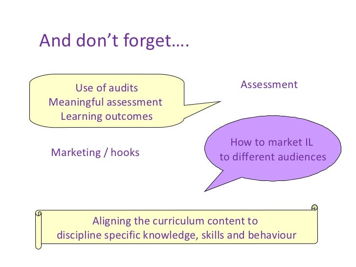 And don't forget…. Use of audits Meaningful assessment  Learning outcomes How to market IL  to different audiences Assessm...