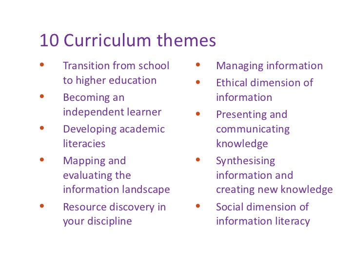 10 Curriculum themes <ul><li>Transition from school to higher education </li></ul><ul><li>Becoming an independent learner ...