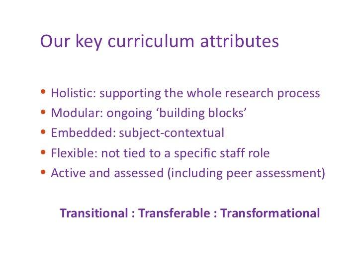 Our key curriculum attributes <ul><li>Holistic: supporting the whole research process </li></ul><ul><li>Modular: ongoing '...