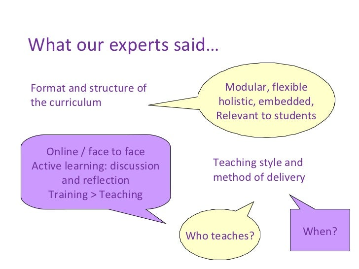 What our experts said… Modular, flexible holistic, embedded, Relevant to students Format and structure of the curriculum O...