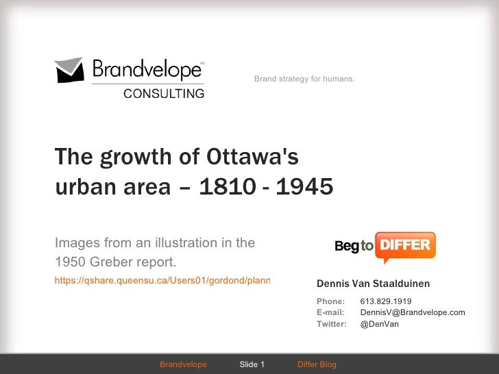 Brand strategy for humans.The growth of Ottawasurban area – 1810 - 1945Images from an illustration in the1950 Greber repor...