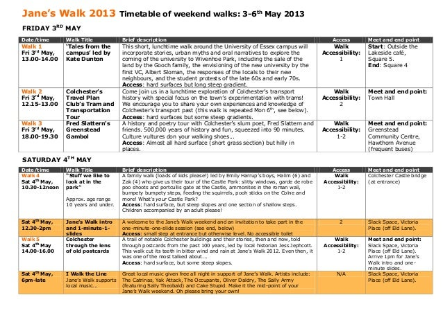Jane's Walk 2013                      Timetable of weekend walks: 3-6th May 2013FRIDAY 3RD MAYDate/time      Walk Title   ...
