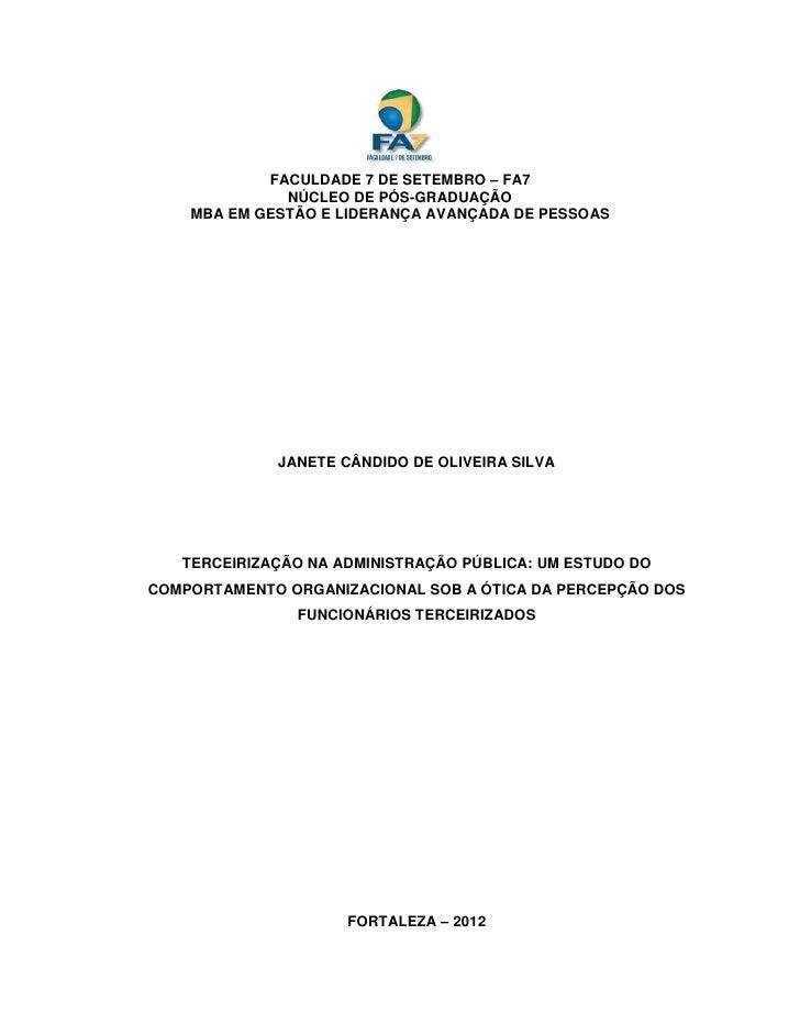 FACULDADE 7 DE SETEMBRO – FA7              NÚCLEO DE PÓS-GRADUAÇÃO    MBA EM GESTÃO E LIDERANÇA AVANÇADA DE PESSOAS       ...