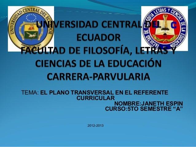 TEMA: EL PLANO TRANSVERSAL EN EL REFERENTE                 CURRICULAR                           NOMBRE:JANETH ESPIN       ...