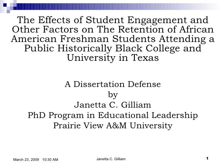 The Effects of Student Engagement and Other Factors on The Retention of African American Freshman Students Attending a...