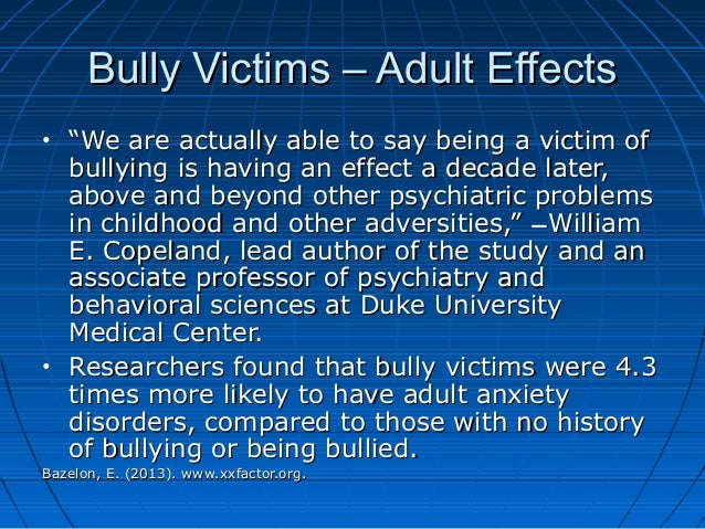 "the factor of bullying Bullying: bullying the us secret service in conjunction with the us department of education found that bullying was a factor in the majority of ""incidents."