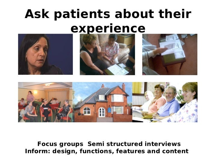 Ask patients about their      experience    Focus groups Semi structured interviewsInform: design, functions, features and...