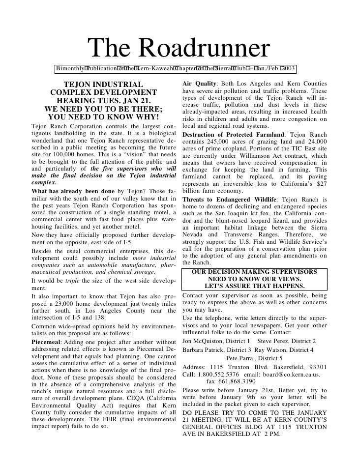 The Roadrunner         Bimonthly Publication of the Kern-Kaweah Chapter of the Sierra Club — Jan./Feb. 2003        TEJON I...