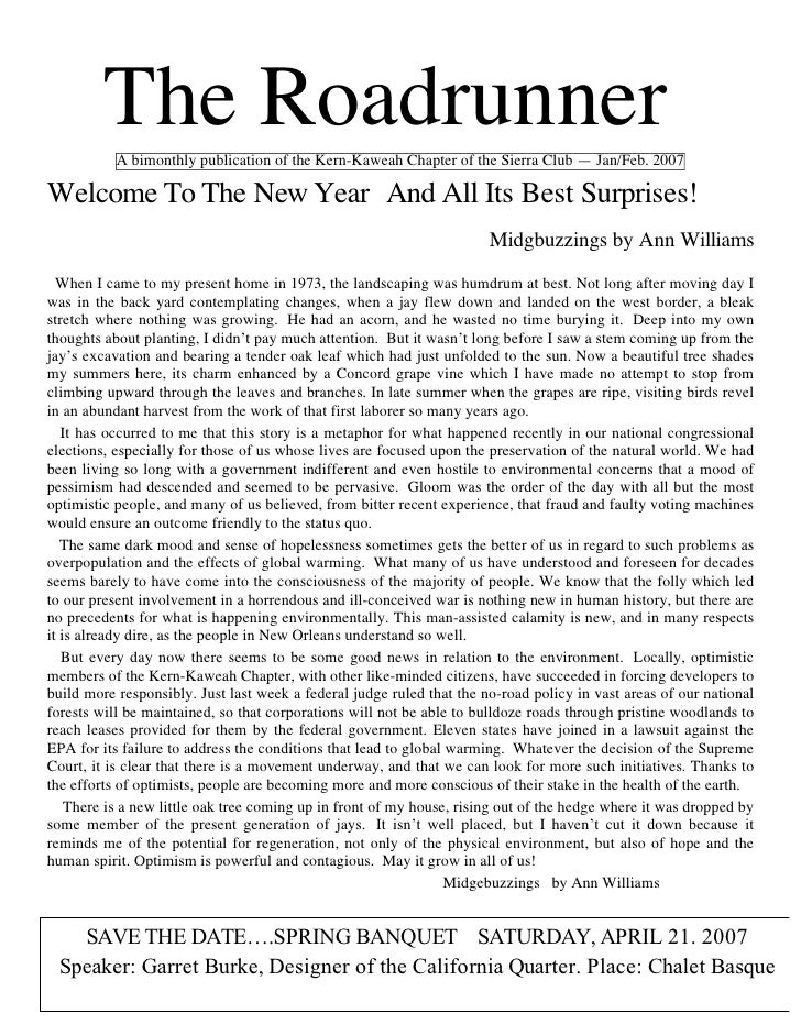 The Roadrunner           A bimonthly publication of the Kern-Kaweah Chapter of the Sierra Club — Jan/Feb. 2007Welcome To T...
