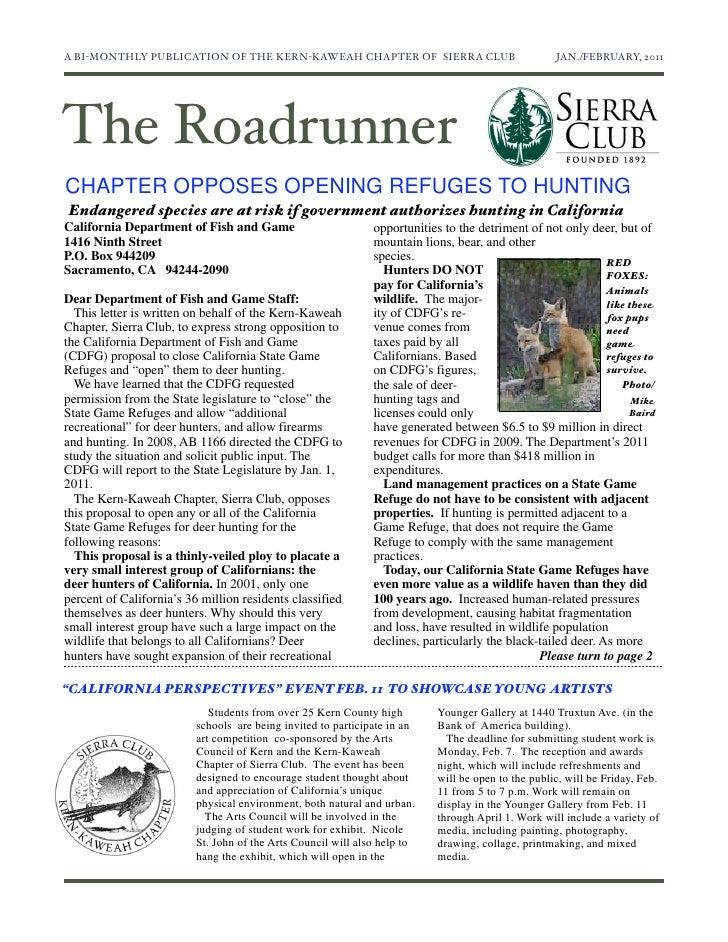 January-February 2011 Roadrunner Newsletter, Kern-Kaweah Sierrra Club
