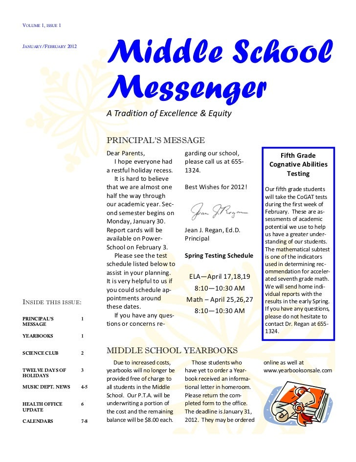 VOLUME 1, ISSUE 1JANUARY/FEBRUARY 2012                              Middle School                              Messenger  ...