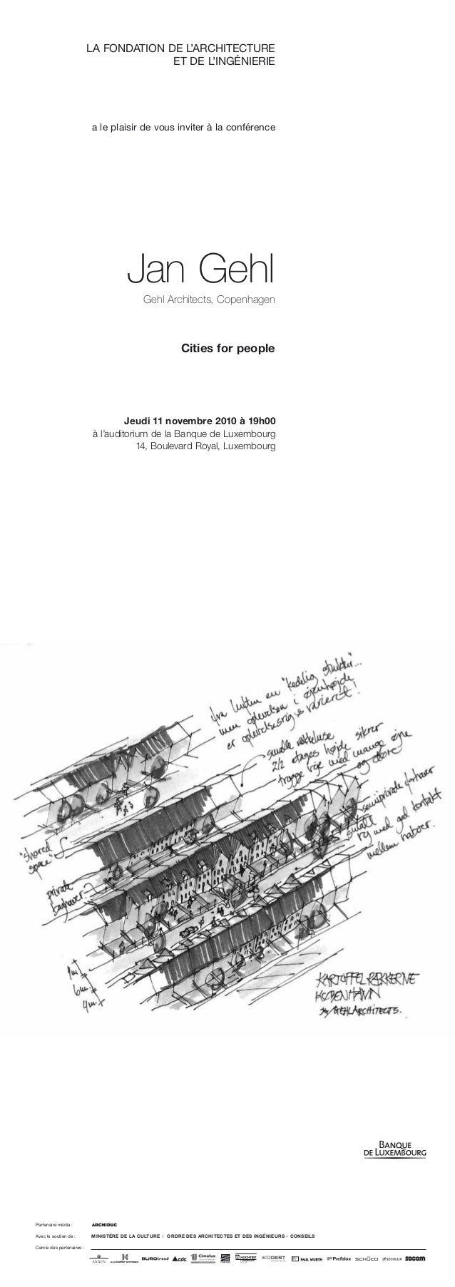 LA FONDATION DE L'ARCHITECTURE ET DE L'INGÉNIERIE a le plaisir de vous inviter à la conférence Jeudi 11 novembre 2010 à 19...