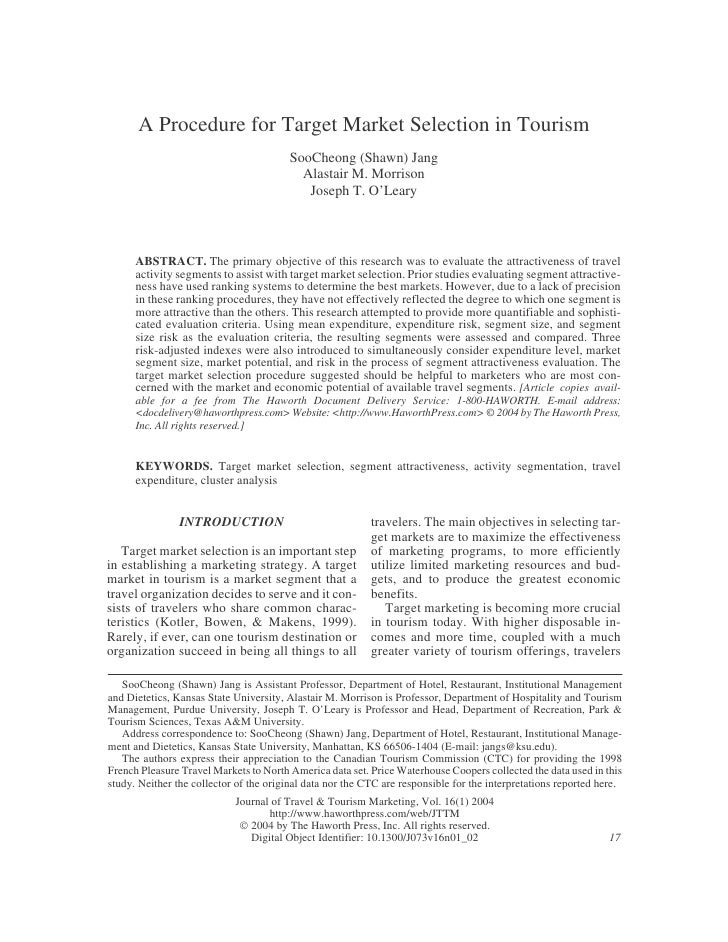 A Procedure for Target Market Selection in Tourism                                          SooCheong (Shawn) Jang        ...