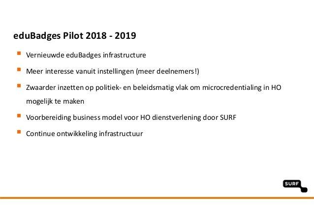 eduBadgesPilot2018‐ 2019  Vernieuwde eduBadges infrastructure  Meerinteresse vanuit instellingen (meer deelnemers!) ...
