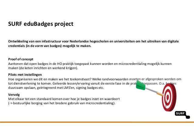 SURFeduBadges projectpilotSURFnet Ontwikkelingvaneeninfastructuur voorNederlandsehogescholenenuniversiteitenomh...