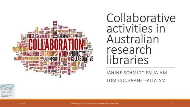 Collaborative activities in Australian research libraries JANINE SCHMIDT FALIA AM TOM COCHRANE FALIA AM COLLABORATIVE ACTI...