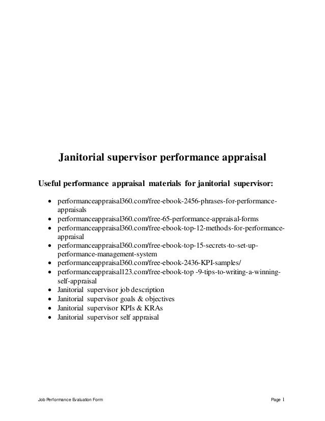Job Performance Evaluation Form Page 1 Janitorial supervisor performance appraisal Useful performance appraisal materials ...