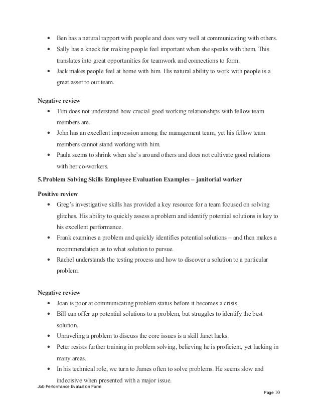 Janitorial worker performance appraisal