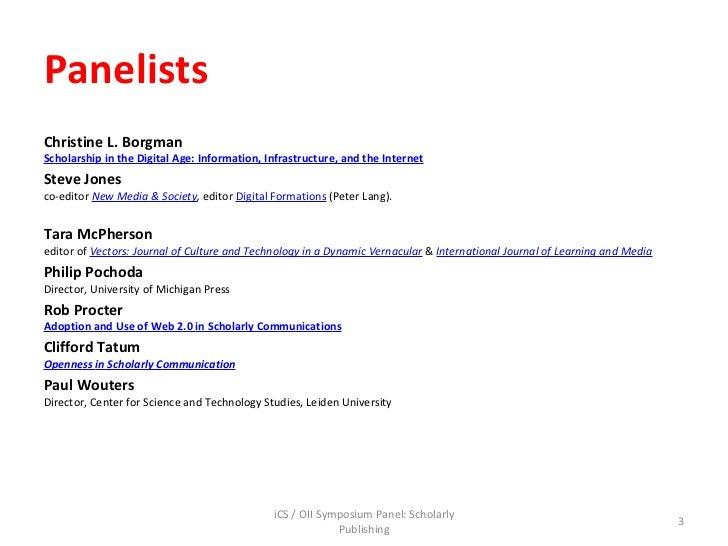 Jankowski, introduction slides, i cs oii panel scholarly communication, 22sept2011 Slide 3