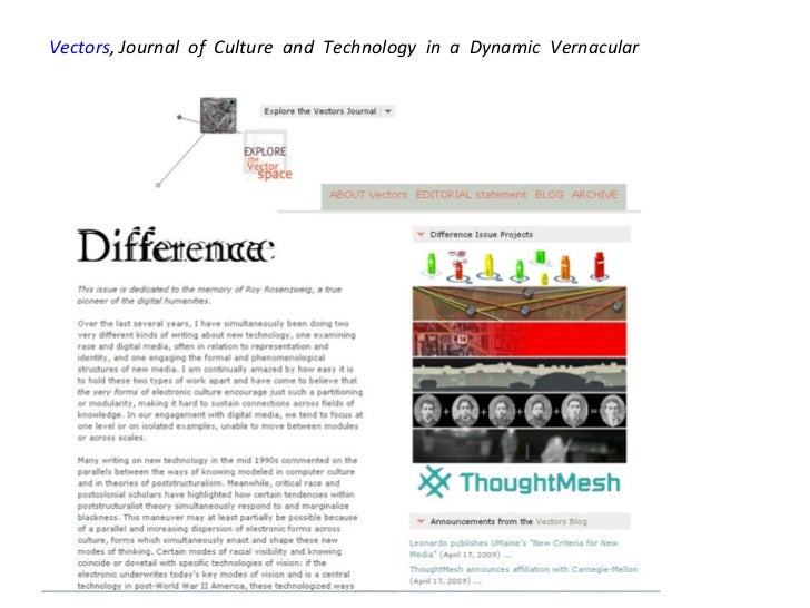 Vectors , Journal of Culture and Technology in a Dynamic Vernacular