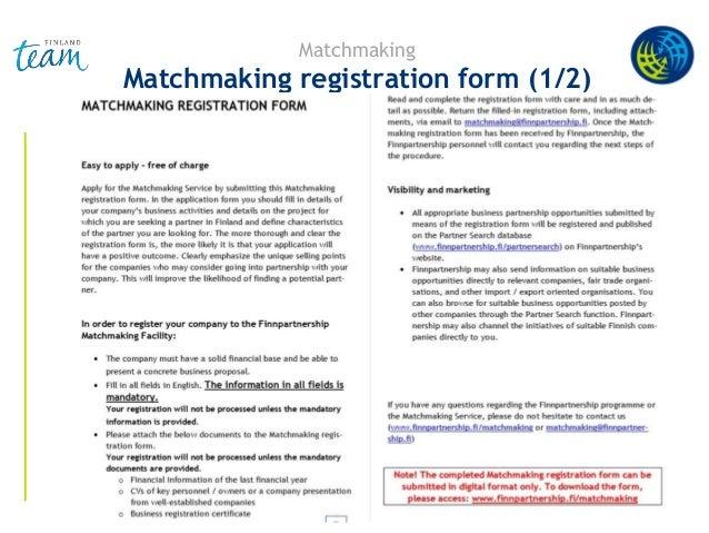 Matchmaking Matchmaking registration form (1/2)