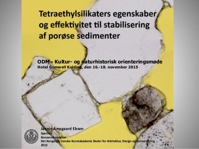 ODM - Kultur- og naturhistorisk orienteringsmøde Hotel Comwell Kolding, den 16.-18. november 2015 Jannie Amsgaard Ebsen Sp...