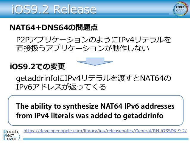 iOS9.2 Release https://developer.apple.com/library/ios/releasenotes/General/RN-iOSSDK-9.2/ The ability to synthesize NAT64...