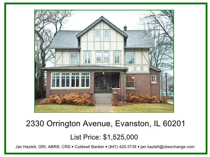 2330 Orrington Avenue, Evanston, IL 60201 List Price:$1,525,000