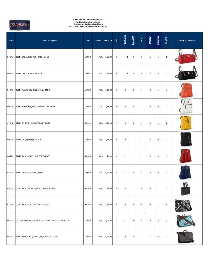 Jan sport sale price list