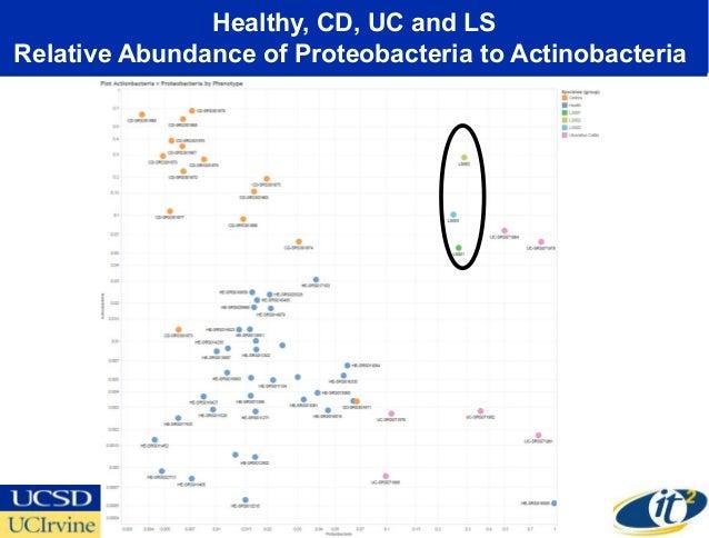 Healthy, CD, UC and LSRelative Abundance of Proteobacteria to Actinobacteria