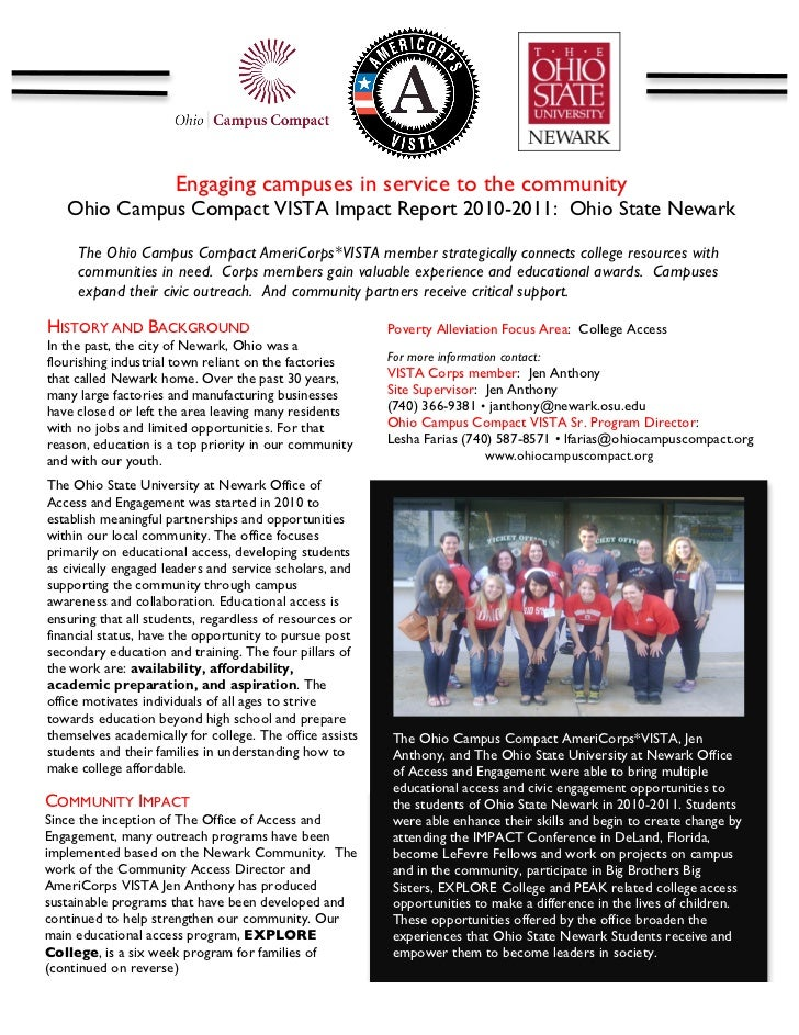 Engaging campuses in service to the community       Ohio Campus Compact VISTA Impact Report 2010-2011: Ohio State Newark ...