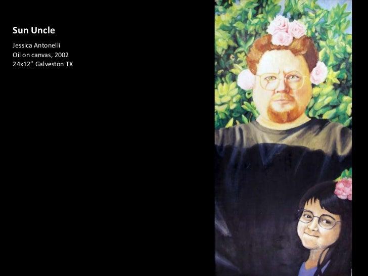"""Sun Uncle<br />Jessica Antonelli<br />Oil on canvas, 2002<br />24x12"""" Galveston TX<br />"""