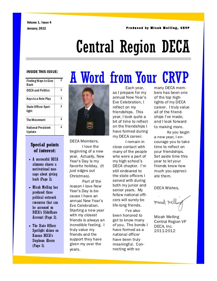 Volume 1, Issue 4January, 2012                                                  Produced by Micah Melling, CRVP           ...