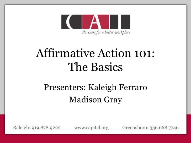 Awesome Affirmative Action 101: The Basicsu003cbr /u003ePresenters: Kaleigh ...